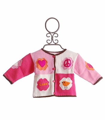 Art Walk Love and Peace Infant Girls Sweater