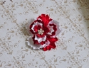 Ashely Anne Red and White Crinkled Velvet Holiday Clip