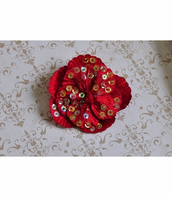Ashley Anne Red Velvet Flower Hair Clip