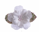 Ashley Anne Velvet Petals White Girls Hair Clip