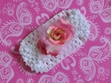 Ashley Anne White Headband Pink Flowers