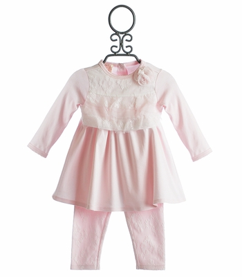 Baby Biscotti Pink Trace of Lace Infant Pant Set