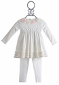 Baby Biscotti Pom Pom Petals Girls Dress with Legging