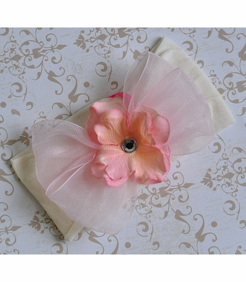 Baby Bling Ivory Headband with Pink  Flower