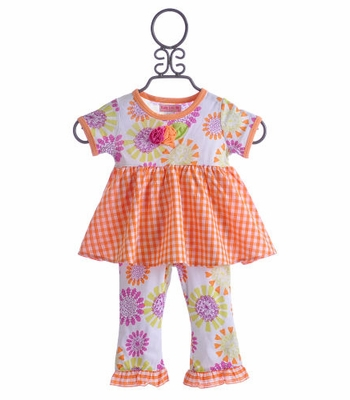 Baby Lulu Little Girls Summer Outfit Orange Bliss