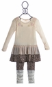 Baby Sara Creme Ruffle Dress with Leopard Leggings