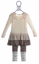 Baby Sara Creme Ruffle Dress with Leopard Leggings (3T,4T,4,5)