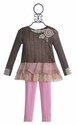 Baby Sara Flower Tunic with Ruffle and Pink Leggings