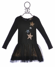 Baby Sara Girls Black Dress with Stars (2T,3T,4)