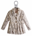Baby Sara Girls Faux Fur Coat in Ivory Texture