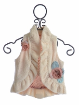 Baby Sara Girls Faux Fur Vest with Rosettes (2T,3T,4T,4,6X)