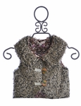Baby Sara Girls Faux Fur Vest with Wooden Buttons