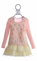 Baby Sara Girls Lace Flower Top and Skirt (4, 6X)