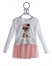 Baby Sara Girls Puppy Top and Pink Skirt Set