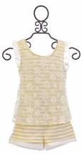 Baby Sara Girls Shorts and Top Set in Gold Stripe (2T,6,6X)