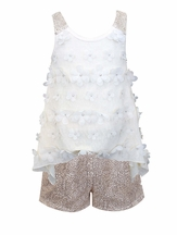 Baby Sara Gold Lace Shorts and Ivory Top