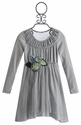 Baby Sara Gray Little Girls Dress with Ruched Yoke