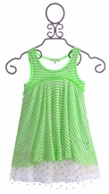 Baby Sara Green Stripe Dress with Lace Trim (Size 24Mos)
