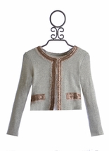 Baby Sara Little Girls Gray Jacket with Gold Sequins (4,5,6X)