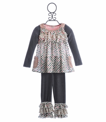 Baby Sara Little Girls Ruffle Tunic and Legging with Dots