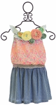 Baby Sara Little Girls Spring Dress Floral and Stripes (12mos,18mos,5,6X)