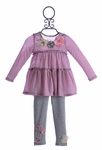 Baby Sara Pink and Gray Striped Tunic with Pants (12 Mos, 24 Mos, 2T, 3T)