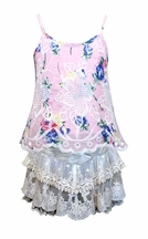 Baby Sara Pink Tank Top with Lace Shorts