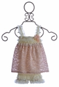 Babys in Bloom Infant Romper Dress in Ivory and Pink