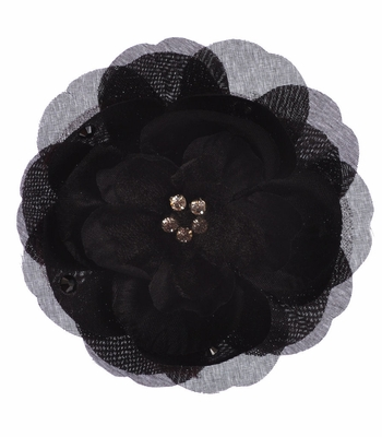 Bari Lynn Black Layered Flower Clip with Crystals