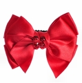 Bari Lynn Red Satin Bow Clip