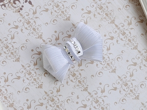 Bari Lynn White Holiday Bow Hair Clip