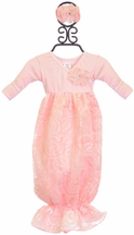 Bebemonde Ribbon Sequins Pink Baby Girls Gown (Restocked)