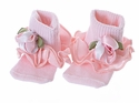 Bebemonde Satin Pink Rosettes Infant Socks