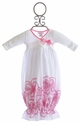 Bebemonde White Newborn Take Home Gown Pink Flowers