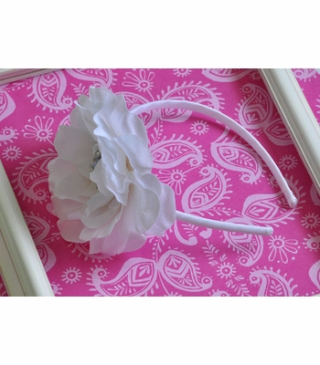 Bella Reese Bowtique White Flower Headband