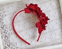 Bella Reese Girls Red Headband with Flowers