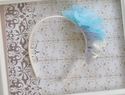 Bella Reese Ivory Wrapped Headband with Blue Flower