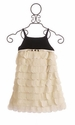 Biscotti Black Velvet Sleeveless Ivory Petal Dress for Girls