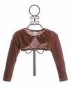 Biscotti Brown Velvet Beaded Shrug for Girls