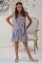Biscotti Couture Dress for Tweens Silver Flapper (Size 7)