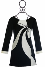 Biscotti Girls Black and White Dress with Bow