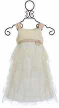 Biscotti Girls Dress in Ivory and Champagne