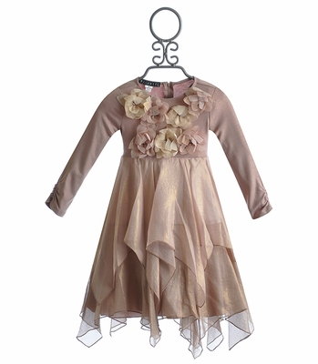 Biscotti Girls Holiday Dress in Shimmering Rose