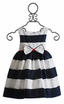 Biscotti Girls Party Dress Navy and White Stripes