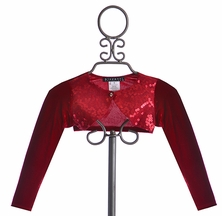 Biscotti Girls Red Sequin Shrug (Size 10)