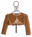 Biscotti Gold Velvet Princess Puff Sleeve Shrug for Little Girls