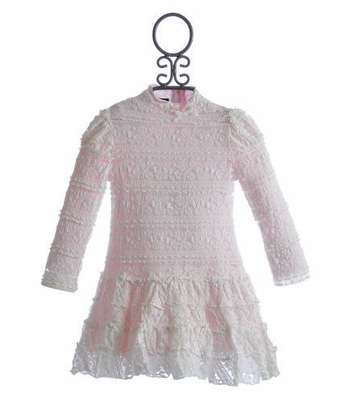 Biscotti Little Girls Lace Parfait Pink Dress