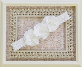 Biscotti Little Girls Ruffle Flower Headband in Ivory