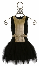 Biscotti Party Dress for Girls in Black and Gold