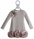 Biscotti Party Mix Girls Dress with Rosettes